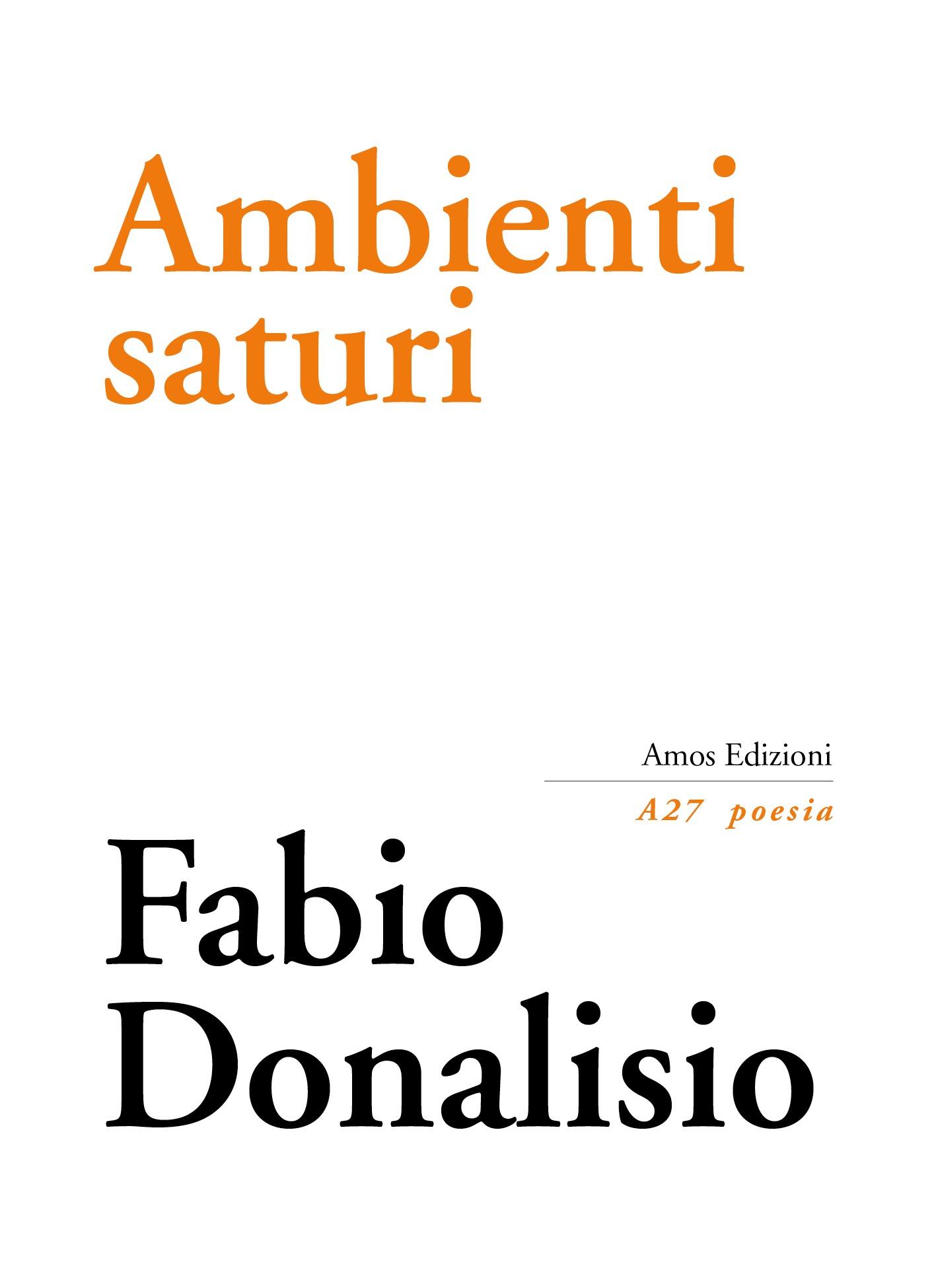 """""""La poesia lirica è tanatoestetica"""": Ambienti saturi di Fabio Donalisio"""